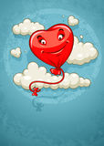 Red heart baloon flying among clouds retro Stock Photography
