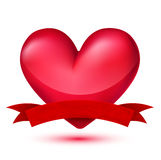Red heart with banner Royalty Free Stock Image