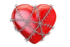 Red heart with barbed wire, 3D rendering. On white background Stock Image