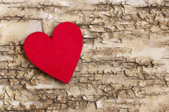 Red heart on bark background. Symbol of love Royalty Free Stock Images