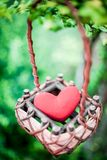 Red heart in The basket. With dramatic tone Royalty Free Stock Images