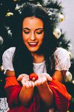 Red heart bauble - love in Christmas stock image