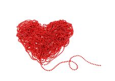 Red heart with beads Stock Photography