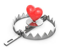 Red heart in a bear trap Stock Images