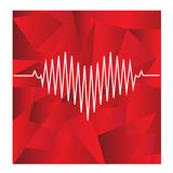 Red heart beats with cardiogram Stock Photography