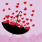 Red heart is in a beautiful black umbrella on pink background. Red heart is a beautiful black umbrella on pink background vector illustration