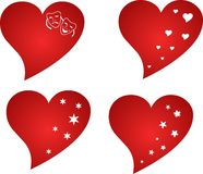 Red heart. Big red hearts abstract suitable as an icon Stock Image