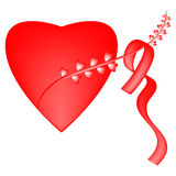 Red heart. Red big heart ribbon branch Stock Photography