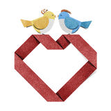 Red heart and bird recycled paper craft Stock Photos