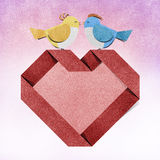 Red heart and bird recycled paper craft Royalty Free Stock Image
