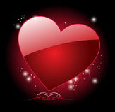 Red heart on black Stock Photography