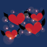 Red heart with black angel wing on blue background Stock Images