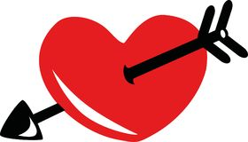 Red heart with black arrow icon. Vector stock illustration