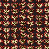 Red heart on black background Valentine's day, wedding seamless pattern. vector Stock Photo