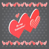 Red heart  on black background. Vector Valentine's day postcard. Red heart  on black background. Vector isometric Valentine's day postcard Stock Photo