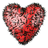 Red heart with black crystals isolated Stock Image
