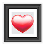 Red heart in black frame  on white Stock Photos