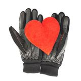 Red heart in black leather gloves. Composition of the red heart in black leather gloves, isolated over the white background Royalty Free Stock Images