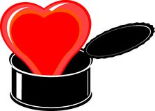 Red heart in black open tin Royalty Free Stock Photos