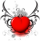Red heart on black pattern. Illustration shiny red heart on black pattern Royalty Free Stock Photo