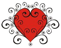 Red heart in a black pattern Royalty Free Stock Image