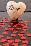 Red Heart On Black Stone Background. Love and Valentines Day Concept. Royalty Free Stock Photo