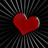 Red heart on black striped background Stock Photos