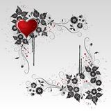 Red Heart and Black Vines and leaves. Red heart great for wallpaper and valentines card Stock Photo