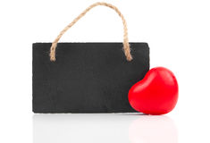 Red heart with blackboard Royalty Free Stock Photos