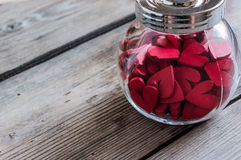 Red Heart Blocks in Glass Bottle Stock Photos