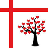 Red heart blooming on tree. With red cross. Valentine's present concept Royalty Free Stock Image