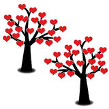 Red heart blooming on tree isolated. On white background. Valentine's postcard concept Royalty Free Stock Photos