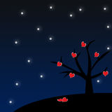 Red heart blooming on tree in winter. Red heart on silhouette tree in the winter night Royalty Free Stock Photo