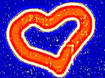 Red heart on a blue background for the Mothers Day, Valentines Day. Oil paint effect. Vector. royalty free illustration