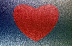Red heart on a blue background. Oil paint effect. Vector. Royalty Free Stock Images