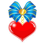 Red heart with a blue bow Royalty Free Stock Images