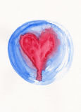 Red heart in blue circle frame watercolor painting Royalty Free Stock Photos