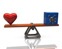 Red heart and blue security safe on scales. 3d illustration of red heart and blue security safe on scales Royalty Free Stock Photos