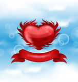 Red heart on blue sky background for Valentines da Royalty Free Stock Images