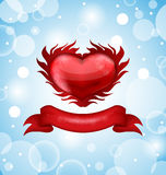Red heart on blue sky background for Valentines da Stock Image