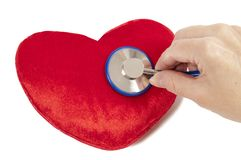 Red Heart With Blue Stethoscope Royalty Free Stock Photos