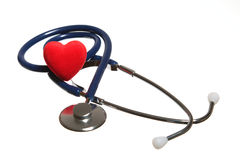 Red heart and a blue stethoscope isolated Royalty Free Stock Photo