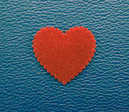 Red heart on blue vintage background Royalty Free Stock Images