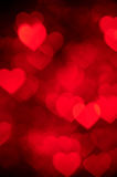 Red heart bokeh background photo, abstract holiday backdrop Stock Photos