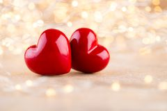 Red heart bokeh background, valentine day greeting card.  stock images