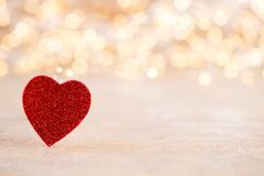Red heart bokeh background, valentine day greeting card. Red heart, valentine day greeting card. Bokeh background royalty free stock image