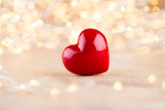 Red heart bokeh background, valentine day greeting card.  royalty free stock photography