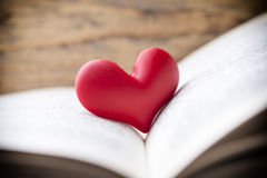 Red heart of the book. Greeting cards. Stock Photo