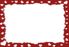 Red Heart Border. Red and white Heart Border with white area in the center for text Stock Illustration