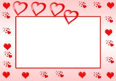Red Heart Border. A border with red hearts Stock Images